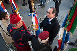 French President Francois Hollande reviews troops and veterans during Armistice Day ceremonies marking the 98th anniversary of the end of World War I, in Paris, France on November 11, 2016. Photo by Jeremy Lempin/ABACAPRESS.COM