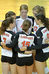 13 September 2011: Redbird Volleyball team huddle during an NCAA volleyball match between the Ramblers of Loyola and the Illinois State Redbirds at Redbird Arena in Normal Illinois.