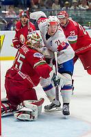 Ishockey<br /> VM 2015<br /> Norge v Hviterussland<br /> 12.05.2015<br /> Foto: imago/Digitalsport<br /> NORWAY ONLY<br /> <br /> Morten Ask (NOR) collides with Goalie Kevin Lalande (BLR).