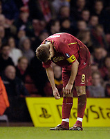 Photo: Jed Wee.<br /> Liverpool v Benfica. UEFA Champions League. 08/03/2006.<br /> <br /> Liverpool captain Steven Gerrard haunches over in defeat.