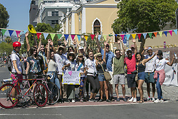 CAPE TOWN, Jan. 28, 2019  People pose for a photo with tourists on a street free from vehicles in Cape Town, South Africa, Jan. 27, 2019, on the occasion of the Open Streets Day. Thousands of people on Sunday took part in activities on the Open Streets Day when people were encouraged to leave their cars at home and join others to experience the streets differently. (Credit Image: © Linda Yee/Xinhua via ZUMA Wire)