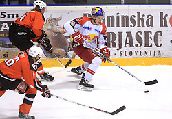 Oskars_Cibulskis (18) at ice hockey match Acroni Jesencie vs EC Red Bull Salzburg in EBEL League,  on November 23, 2008 in Arena Podmezaklja, Jesenice, Slovenia. (Photo by Vid Ponikvar / Sportida)