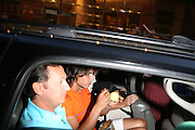 Raphael Nadal signs tennis ball as he leaves the Don King and Nike presentation(press conference) ' Grapple in the Apple '  with Roger Federer and Raphael Nadal at The Madarin Oriental Hotel (North Salon) on August 21, 2008 in New York City ***(Exclusive)