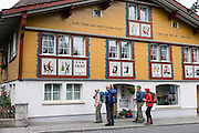 Building with painted panels in Appenzell village, Switzerland, Europe. Appenzell Innerrhoden is Switzerland's most traditional and smallest-population canton (second smallest by area).