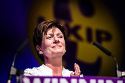Ukip leader Diane James introduces Douglas Carswell (not pictured) before he addressees the Ukip conference in Bournemouth.