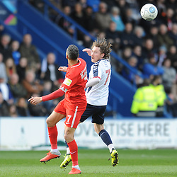TELFORD COPYRIGHT MIKE SHERIDAN 23/3/2019 - James McQuilkin of AFC Telford battles for the ball with Jobi McAnuff (captain) of Orient during the FA Trophy Semi Final fixture between AFC Telford United and Leyton Orient at the New Bucks Head