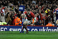 Alex Cuthbert of Wales  scores  the 2nd  Welsh try. RBS Six nations championship 2013, Wales v England at the Millennium stadium in Cardiff , South Wales on Saturday 16th March 2013. pic by Andrew Orchard, Andrew Orchard sports photography,