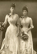 'Daughters of Edward VII of Great Britain pictured c1890.  Princess Victoria (1868-1935), left, and Princess Maud (1869-1938) who married Haakon VII of Norway.'