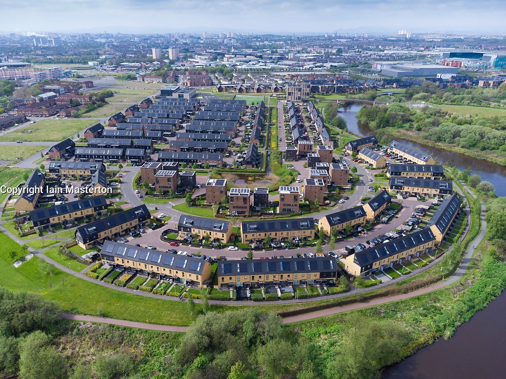 Aerial view of former Athletes Village modern housing development on banks of River Clyde at Dalmarnock, Glasgow, Scotland, UK