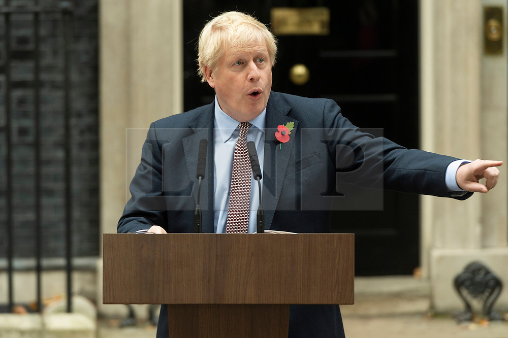 © Licensed to London News Pictures. 06/11/2019. London, UK. British Prime Minister Boris Johnson makes a speech outside 10 Downing St to launch the General Election. Photo credit: Ray Tang/LNP