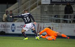 Falkirk's John Baird and Cowdenbeath's keeper Thomson.  Falkirk 1 v 0 Cowdenbeath, Scottish Championship game played 31/3/2015 at The Falkirk Stadium.