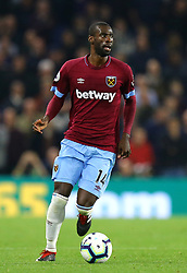 """West Ham United's Pedro Obiang during the Premier League match at the AMEX Stadium, Brighton. PRESS ASSOCIATION Photo. Picture date: Friday October 5, 2018. See PA story SOCCER Brighton. Photo credit should read: Gareth Fuller/PA Wire. RESTRICTIONS: EDITORIAL USE ONLY No use with unauthorised audio, video, data, fixture lists, club/league logos or """"live"""" services. Online in-match use limited to 120 images, no video emulation. No use in betting, games or single club/league/player publications."""