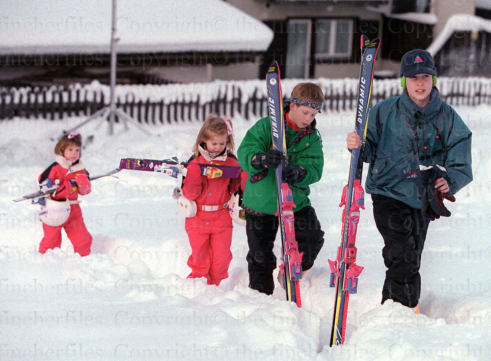 Royal cousins, Prince William and Prince Harry seen with their cousins Princess Beatrice and Princess Eugenie on a ski holiday in Klosters, Switzerland in January 1995.Photographed by Terry Fincher