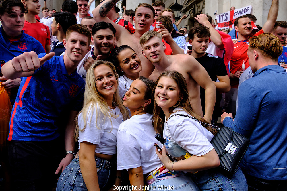 English Football fans in Trafalgar Square, Central London, before the finals of football match against Italy.  England v Italy Euro 2020 final. 11 July 2021