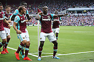Michail Antonio of West Ham United © celebrates after scoring his sides 1st goal from a header to make it 1-0 with his teammates. Premier league match, West Ham Utd v AFC Bournemouth at the London Stadium, Queen Elizabeth Olympic Park in London on Sunday 21st August 2016.<br /> pic by John Patrick Fletcher, Andrew Orchard sports photography.