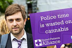 London, October 10 2017. Medical cannabis users from the United Patients Alliance gather at Old Palace Yard with Paul Flynn MP, demanding the decriminalisation of cannabis which they say has proven to be the most successful aid to pain relief, demanding that MPs respect the scientifically proven benefits of THC (tetrahydrocannabinol). PICTURED: Protest organiser MS sufferer and medical cannabis user Clark French. © Paul Davey
