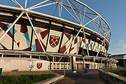 West Ham United soccer stadium in the Queen Elizabeth Olympic Park during the coronavirus pandemic on the 7th May 2020 in London, United Kingdom. The Olympic sports venues nearby include the London Stadium, and Lee Valley Velopark.