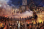 Forging the giant Olympic rings during the scenes of the Industrial Revolution at the technical rehearsal of the openings ceremony of the Olympic Games in London.
