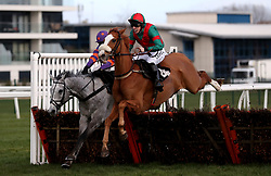First Drift ridden by Max Kendrick jumps the last on their way to victory in the Peter O'Sullevan Charitable Trust H.O.P.E Programme Seniors' Handicap Hurdle at Newbury Racecourse.