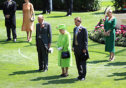 Her Majesty The Queen, The Duke of Edinburgh and Ascot Chairman Johnny Weatherby observe a minute's silence in light of recent tragic events around Britain during day one of Royal Ascot at Ascot Racecourse.