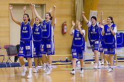 Players of Celje Kristina Verbole, Tjasa Kopusar, Lea jagodic, Amadeja Cverlin,  Tjasa Muhovic and Anja Klavzar celebrate at finals match of Slovenian 1st Women league between KK Hit Kranjska Gora and ZKK Merkur Celje, on May 14, 2009, in Arena Vitranc, Kranjska Gora, Slovenia. Merkur Celje won the third time and became Slovenian National Champion. (Photo by Vid Ponikvar / Sportida)