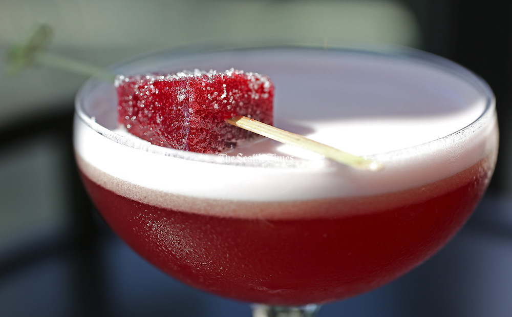 A cocktail named the the Brazilian Ruby. (Ken Lambert / The Seattle Times)