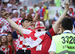 MOSCOW, July 11, 2018  A fan of England cheers prior to the 2018 FIFA World Cup semi-final match between England and Croatia in Moscow, Russia, July 11, 2018. (Credit Image: © Yang Lei/Xinhua via ZUMA Wire)