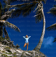 Model Jilly Johnson seen doing yoga in Barbados. Photograph by Terry Fincher