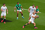 Jonathan Joseph of England runs with the ball during the Six Nations international rugby union match between England and Ireland at Twickenham stadium, Sunday, Feb. 23, 2020, in London, United Kingdom.  England won the match 24-12. (Mitchell Gunn/ESPA-Images-Image of Sport)