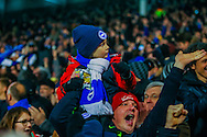 Brighton and Hove Albion fans during the Sky Bet Championship match at Craven Cottage, London<br /> Picture by Richard Brooks/Focus Images Ltd 07947656233<br /> 02/01/2017