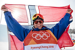 February 18, 2018 - Pyeongchang, SOUTH KOREA - 180218 Øystein BrÃ¥ten of Norway, Gold, celebrate after the Men's Slopestyle Finale during day nine of the 2018 Winter Olympics on February 18, 2018 in Pyeongchang..Photo: Petter Arvidson / BILDBYRÃ…N / kod PA / 91979 (Credit Image: © Petter Arvidson/Bildbyran via ZUMA Press)