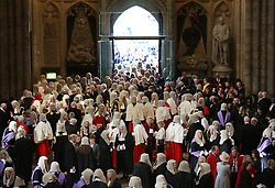 © Licensed to London News Pictures. 01/10/2015. London, UK. Judges gather in Westminster Abbey as they take part in the annual Judges Service. The Service heralds the start of the legal year in the United Kingdom. Photo credit: Peter Macdiarmid/LNP