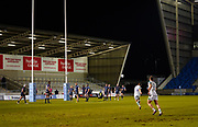 Newcastle Falcons fly-half Brett Connon kicks a penalty during a Gallagher Premiership Round 12 Rugby Union match, Friday, Mar 05, 2021, in Eccles, United Kingdom. (Steve Flynn/Image of Sport)