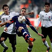 Besiktas's Veli Kavlak (L) during their UEFA Europa League Round of 32 matchday 8 soccer match Besiktas between Braga at Inonu stadium in Istanbul Turkey on Thursday February 23, 2012. Photo by TURKPIX