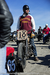 Michael McElwee on his 1945 Harley Davidson WL at the Race of Gentlemen. Wildwood, NJ, USA. October 11, 2015.  Photography ©2015 Michael Lichter.