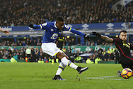 Ademola Lookman of Everton shoots and scores his teams 4th goal. Premier league match, Everton v Manchester City at Goodison Park in Liverpool, Merseyside on Sunday 15th January 2017.<br /> pic by Chris Stading, Andrew Orchard sports photography.