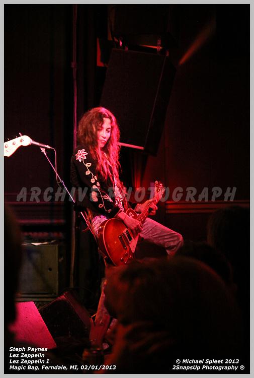 FERNDALE, MI, SATURDAY, FEB. 02, 2013: Lez Zeppelin, Led Zeppelin I Steph Paynes at Magic Bag, Ferndale, MI, 02/02/2013.  (Image Credit: Michael Spleet / 2SnapsUp Photography)