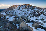 Last light strikes the summit area of Mount Evans 14,264ft, Mount Evans Wilderness Area, Colorado.