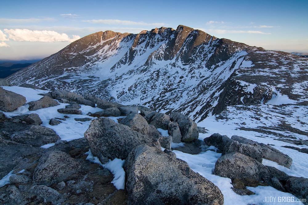 Last light strikes the summit area of Mount Evans 14,264ft, Mount Evans Wilderness Area, Colorado.