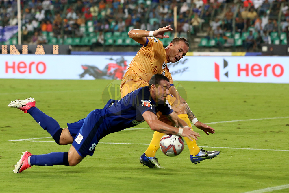 Lucian Goian of Mumbai City FC and Carlos Antonio Salom of Chennaiyin FC in action during match 27 of the Hero Indian Super League 2018 ( ISL ) between Chennaiyin FC  and Mumbai City FC  held at the Jawaharlal Nehru Stadium, Chennai, India on the 3rd November 2018<br /> <br /> Photo by: Faheem Hussain /SPORTZPICS for ISL