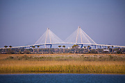 Arthur Ravenel, Jr. Bridge across the Cooper River in Charleston seen from the marsh in Mount Pleasant, South Carolina.