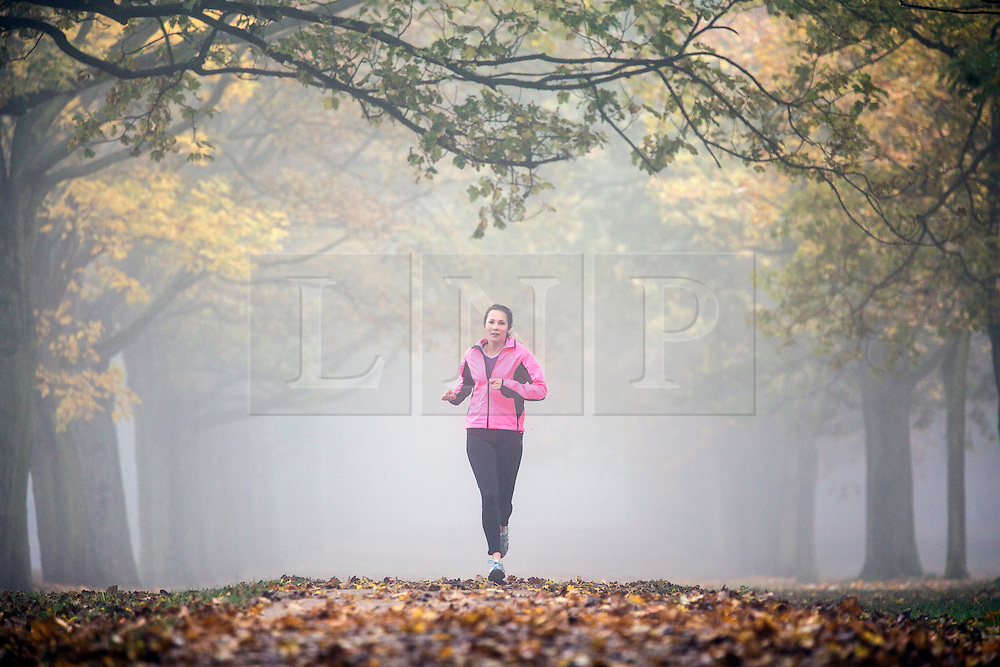 © Licensed to London News Pictures. 02/11/2015. Leeds, UK. A young woman run's through the fog at Temple Newsam park in Leeds. The Yorkshire region is expected to remain fog covered for the rest of the day reducing visibility down to 100 metres or less in some areas. Photo credit: Andrew McCaren/LNP