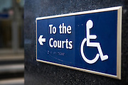 Disabled access sign at the City of Westminster Magistrates Court, London.