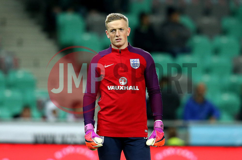 Jordan Pickford of England warms up ahead of the fixture with Slovenia - Mandatory by-line: Robbie Stephenson/JMP - 11/10/2016 - FOOTBALL - RSC Stozice - Ljubljana, England - Slovenia v England - World Cup European Qualifier