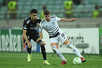 Tural Bayramov (27) of Qarabag FK fights for the ball with Darian Males (19) of FC Basel  during the UEFA Europa Conference League group H match between Qarabag FK and FC Basel at  on September 16, 2021 in Baku, Azerbaijan.
