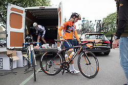 Lizzie Deignan (GBR) of Boels-Dolmans Cycling Team rides to the start of the Tour de Yorkshire - a 122.5 km road race, between Tadcaster and Harrogate on April 29, 2017, in Yorkshire, United Kingdom.