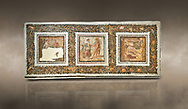 Picture of a Roman mosaics design depicting scenes from mythology, from the ancient Roman city of Thysdrus. End of 2nd century AD, House in Jiliani Guirat area. El Djem Archaeological Museum, El Djem, Tunisia. Against an art background<br /> <br /> This Roman mosaic depicts Aurore enticing Cephane, Apollo enticing Cyrene and Apollo persuing Daphne .<br /> <br /> If you prefer to buy from our ALAMY PHOTO LIBRARY Collection visit : https://www.alamy.com/portfolio/paul-williams-funkystock/roman-mosaic.html . Type - El Djem - into the LOWER SEARCH WITHIN GALLERY box. Refine search by adding background colour, place, museum etc<br /> <br /> Visit our ROMAN MOSAIC PHOTO COLLECTIONS for more photos to download as wall art prints https://funkystock.photoshelter.com/gallery-collection/Roman-Mosaics-Art-Pictures-Images/C0000LcfNel7FpLI