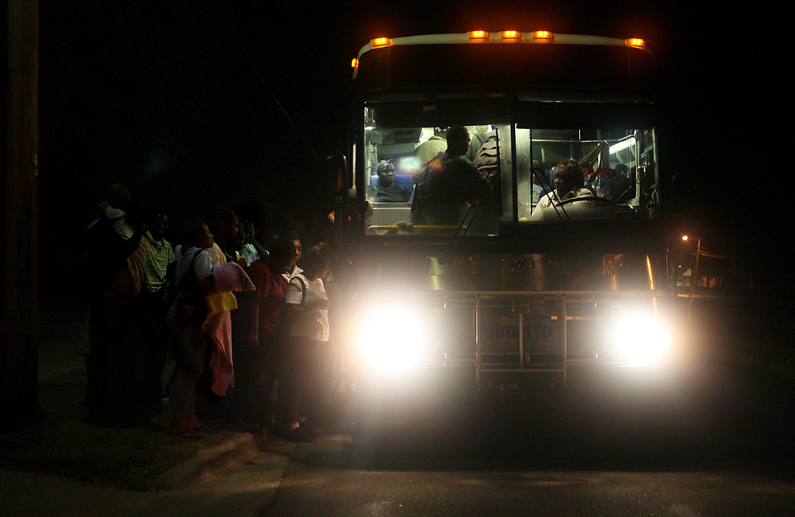 Allendale, South Carolina residents board a bus headed to Hilton Head Island. They ride the bus for a total of five hours a day in order to work at the hotels and restaurants on the island.