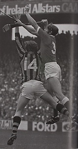 Cork's Martin O'Doherty and Kilkenny's Christy Heffernan in action, early in the 1982 All-Ireland final.