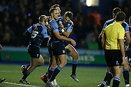 Cory Allen of Cardiff Blues © celebrates with his teammates after he scores his 1st try of the match. European rugby challenge cup match, pool 4, Cardiff Blues v Pau at the BT Sport Cardiff Arms Park in Cardiff, South Wales on Friday 21st October 2016.<br /> pic by Andrew Orchard, Andrew Orchard sports photography.
